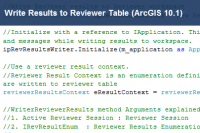 Write Results to Reviewer Table (ArcGIS 10.1)