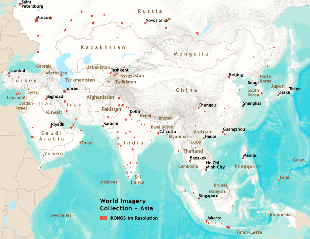 Map Of Asia High Resolution.Imagery