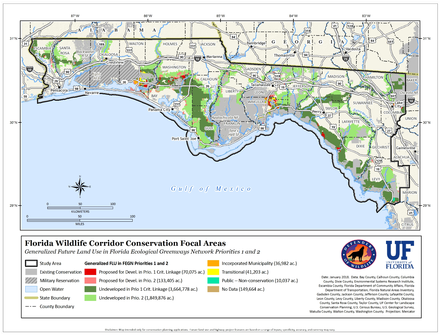 Northwest Florida Map.Northwest Florida Wildlife Habitat Network
