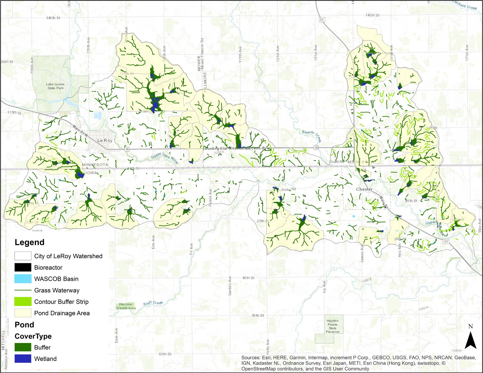 Upper Iowa Subwatersheds on
