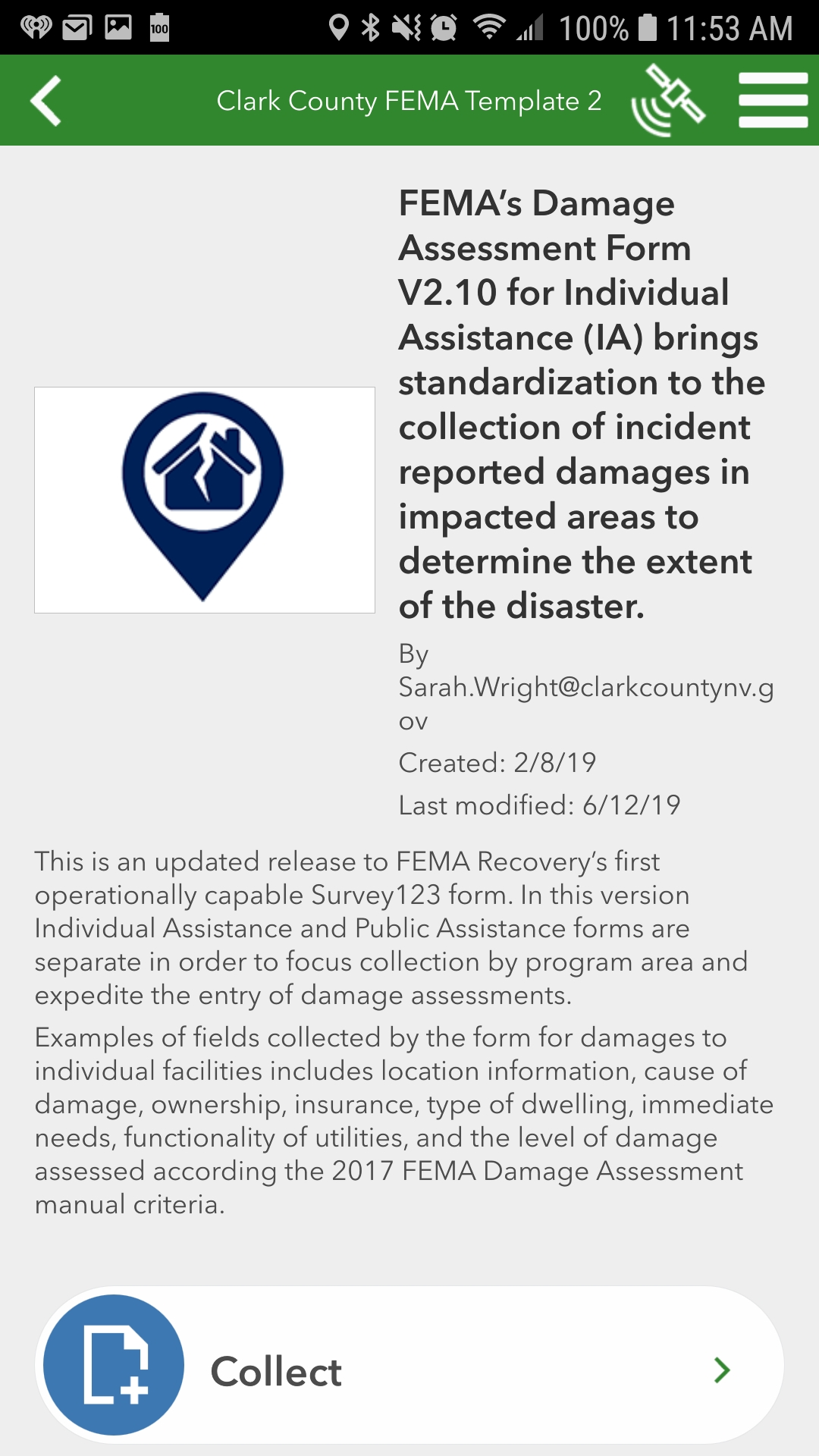 WebEOC Disaster Recovery Deploy Survey 123