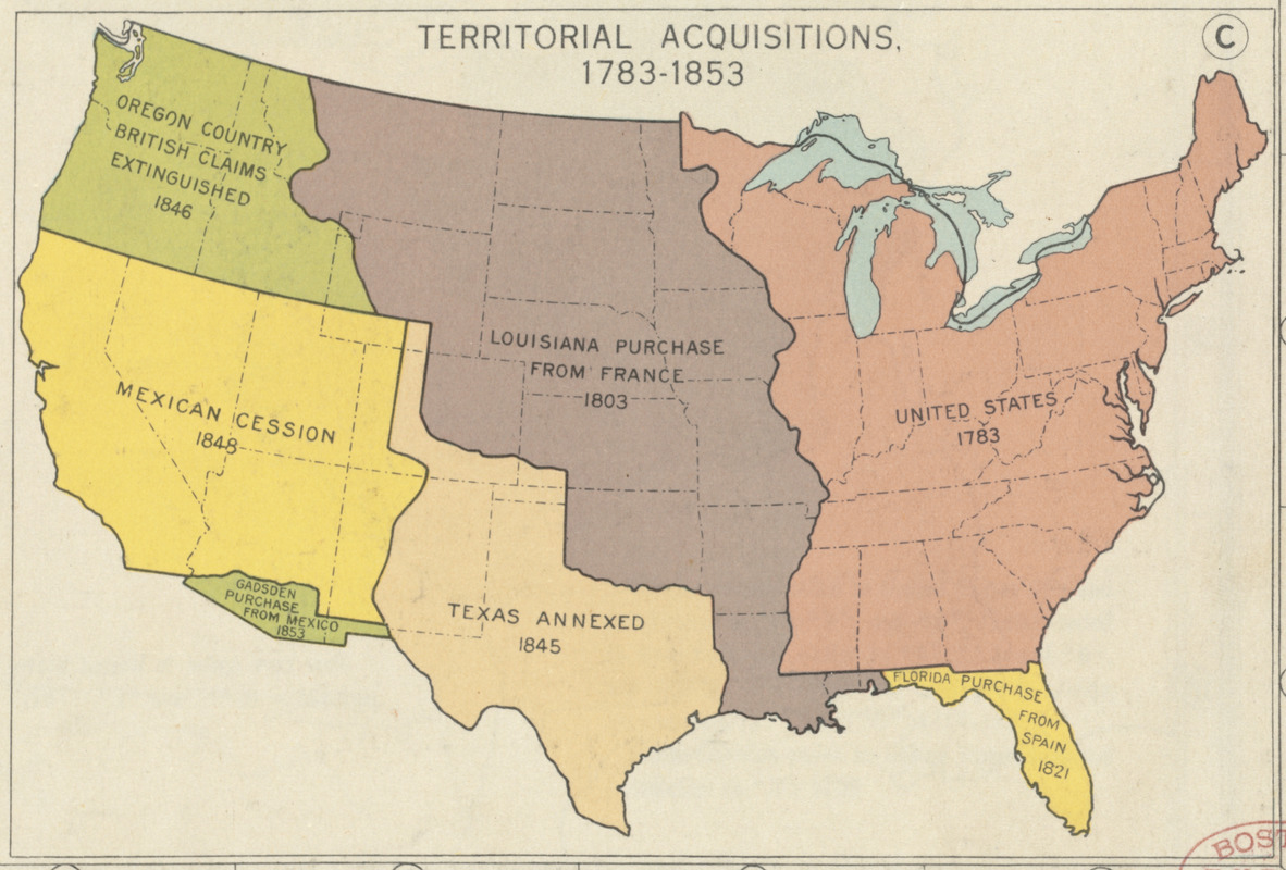Map Of The United States In 1803.Territorial Acquisitions Of United States