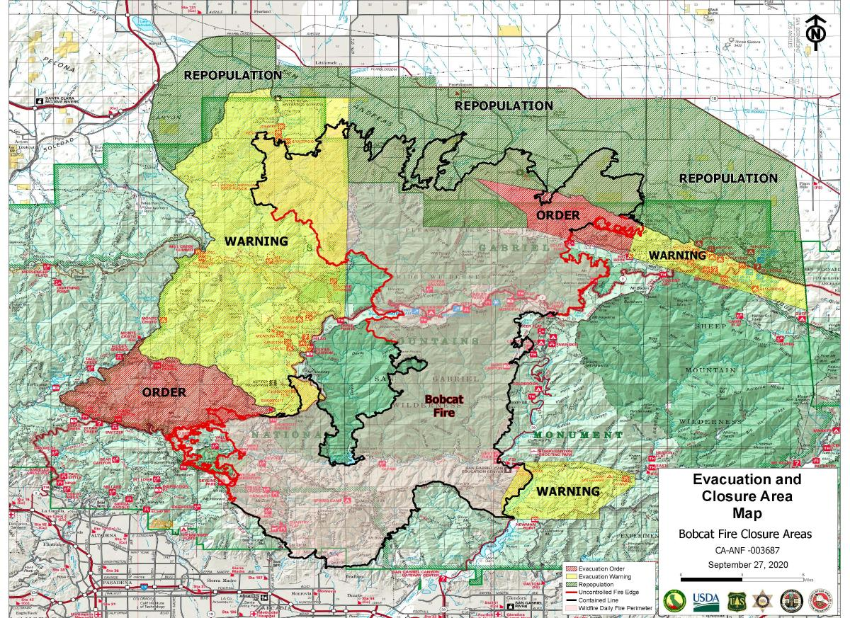 La County Fire Map Bobcat Fire