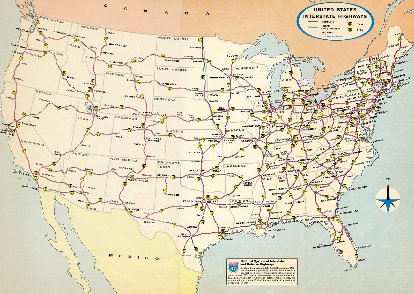 united states map with interstate highways American Development And The Interstate Highway System