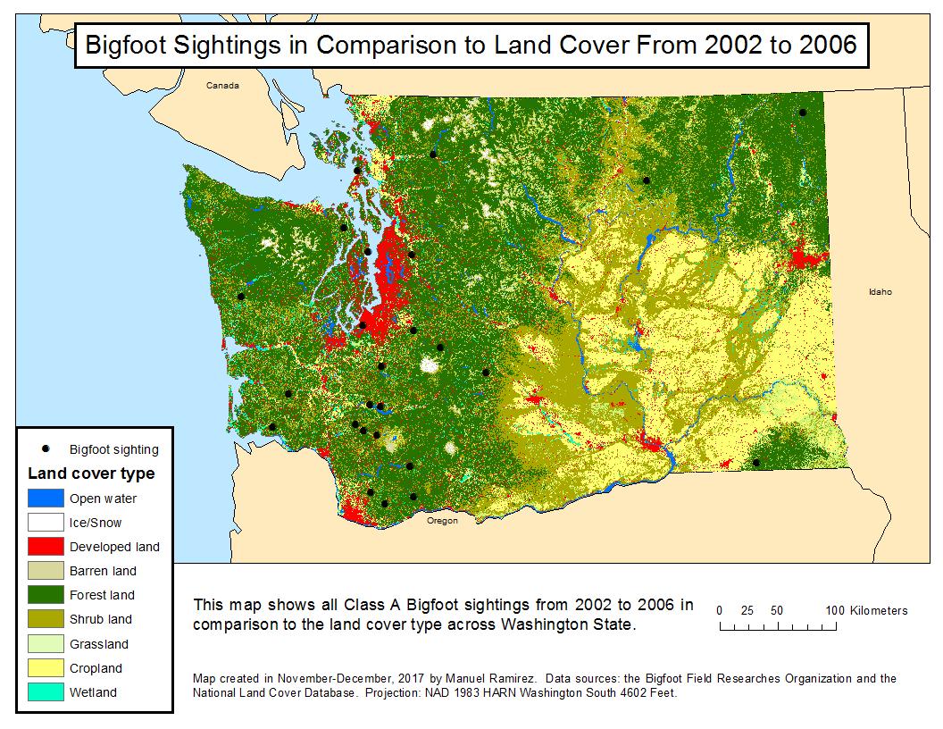 Bigfoot Sightings Map The Elusive Bigfoot of Washington State