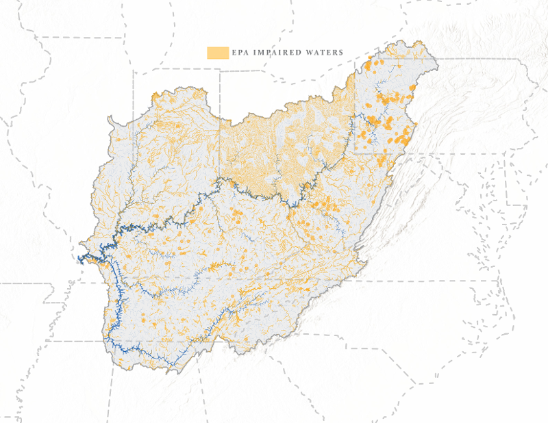 The Ohio River watershed is a vast region
